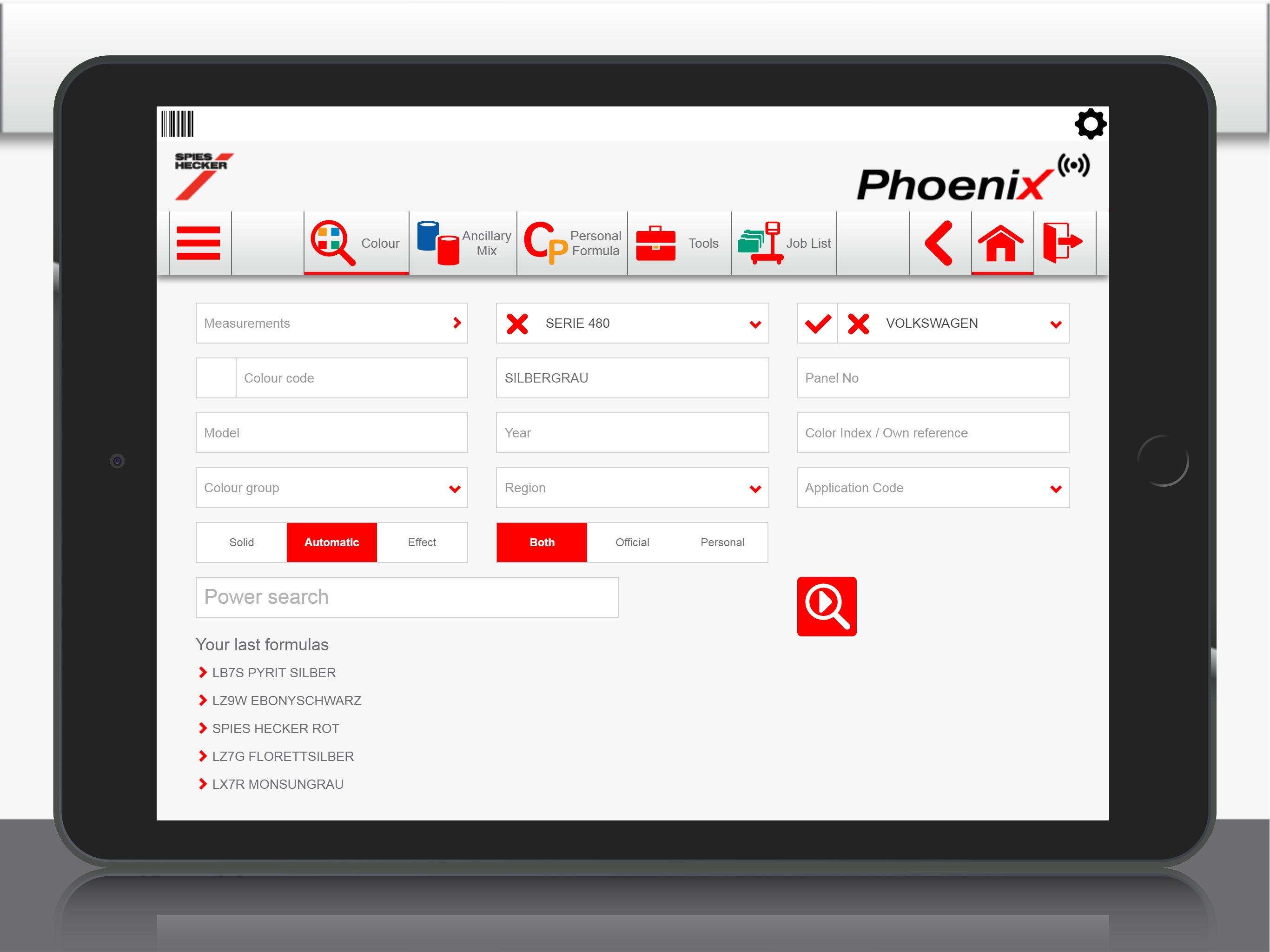 Spies Hecker offers Phonix Colour Software Smartphone App